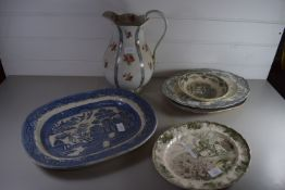 CERAMIC SERVING DISHES AND LARGE JUG