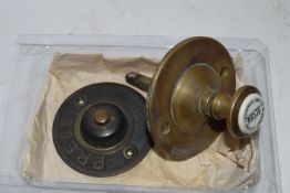 SMALL BRASS MOUNT WITH CERAMIC BUTTON FOR J BALDING & SONS WASTE DAVEY STREET, LONDON AND A