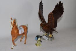 BESWICK HORSE AND BIRD MODEL, PLUS A BESWICK MODEL OF AN EAGLE