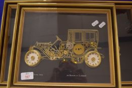 FRAMED MODELS OF VINTAGE CARS IN RELIEF BY AMMON OF LONDON (4)