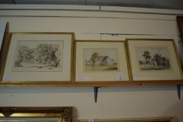 DRAWING OF TREES IN GILT FRAME, TOGETHER WITH PICTURES OF FARM HOUSES