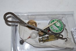 "SMALL BOX CONTAINING A WHISTLE, ITALIAN WWI MEDAL AND A SMALL BUTTON HOOK WITH THE LEGEND ""WHITE"
