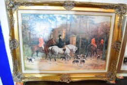 LARGE GILT FRAMED OLEOGRAPH OF A MUNNINGS PAINTING, FRAME SIZE APPROX 95 X 71CM