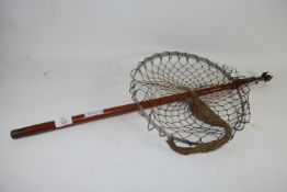 FISHING NET WITH WOODEN HANDLE