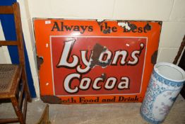 LYONS' COCOA PROMOTIONAL ENAMELLED SIGN (A/F), APPROX 99 X 76CM