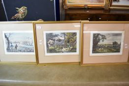 SET OF THREE SHOOTING INTEREST COLOURED PRINTS AFTER R HAVELL JNR, SNIPE SHOOTING, PHEASANT SHOOTING