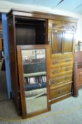 EARLY 20TH CENTURY MAHOGANY FITTED WARDROBE WITH CARVED AND PANELLED DECORATION, TOTAL WIDTH