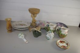 TRAY CONTAINING CERAMIC ITEMS, COLLECTORS PLATES, BESWICK MODEL OF A FISH ETC