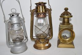 BRASS TILLEY TYPE LAMP, TOGETHER WITH A FURTHER RECTANGULAR LAMP AND HURRICANE LAMP