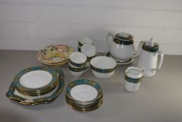 TUSCAN CHINA TEA SET COMPRISING TEA POT, HOT WATER JUG, MILK JUG, SUGAR BOWL, SIX CUPS AND