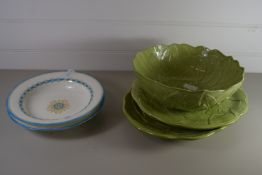 CERAMIC ITEMS, SERVING BOWLS AND GREEN GLAZED SERVING DISHES