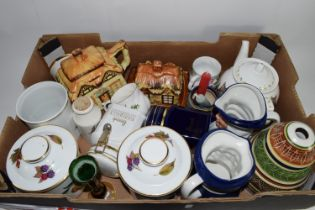 TRAY CONTAINING CERAMICS, MAINLY KITCHEN WARES INCLUDING TWO ROYAL WORCESTER JARS AND COVERS