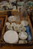 CERAMIC ITEMS, CUPS AND SAUCERS BY CROWN STAFFORDSHIRE ETC, TOGETHER WITH A LARGE GLASS DECANTER