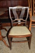 SMALL INLAID BEDROOM CHAIR, WIDTH APPROX 43CM MAX