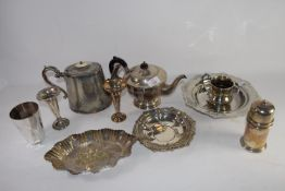 TRAY CONTAINING SILVER PLATED WARES, TEA POT, TWO TRAYS, SMALL SILVER VASE ETC