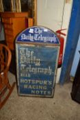 VINTAGE TIN MOUNTED DAILY TELEGRAPH PROMOTIONAL SIGN BOARD, APPROX 53 X 101CM