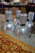 SET OF FOUR MATCHING BRUSHED ALUMINIUM INDUSTRIAL STYLE LIGHT FITTINGS, EACH DIAM APPROX 50CM