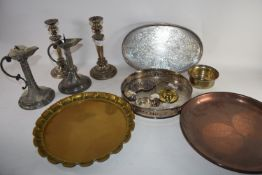 FLAT WARES AND PAIR OF CANDLESTICKS AND SERVING DISHES