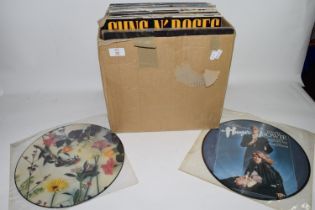 BOX CONTAINING LPS, MAINLY POP MUSIC, DAVID BOWIE, THIN LIZZY, GUNS N ROSES ETC