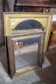 TWO VARIOUS GILT FRAME MIRRORS, THE LARGER APPROX 56 X 78CM