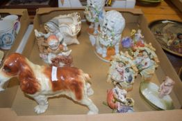 BOX CONTAINING CERAMIC MODELS, MAINLY OF DOGS AND SMALL CHILDREN