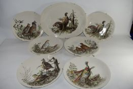 CERAMIC SERVING DISHES WITH GAME BIRDS DECORATION BY JOHNSON BROS