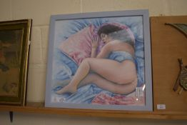 ORIGINAL ART WORK OF A YOUNG GIRL IN RECUMBENT POSE, SIGNED BY KRYS LEACH