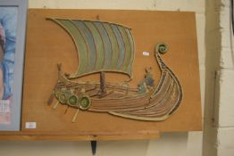 POTTERY MODEL OF A VIKING SHIP MOUNTED ON WOODEN PLAQUE
