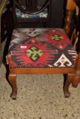SMALL UPHOLSTERED REPRODUCTION STOOL, APPROX 44CM