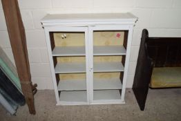 PAINTED WOOD GLAZED STORAGE OR DISPLAY CABINET, WIDTH APPROX 94CM MAX