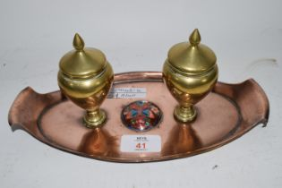 SMALL COPPER TRAY WITH BRASS CONDIMENTS