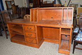 LATE 20TH CENTURY REPRO STYLE ENTERTAINMENT UNIT COMPRISING LONG DESK WITH RAISED RECORD HOLDER,