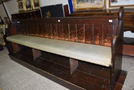 VINTAGE PAINTED PINE PEW, LENGTH APPROX 268CM