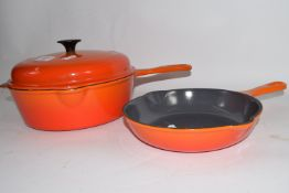"LE CREUSET STYLE SAUCEPAN AND COVER AND SMALL FRYING PAN MARKED TO THE BASE ""LE CREUSET, FRANCE"""