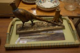 PAINTED COLD-CAST PHEASANT TABLE LIGHTER