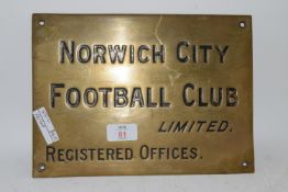 BRASS PLAQUE FOR NORWICH CITY FOOTBALL CLUB REG OFFICES