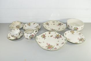 ROYAL DOULTON PART TEA SET IN THE LEEDS SPRAYS DESIGN COMPRISING TWO SANDWICH DISHES, TWO CUPS,
