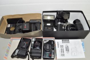 BOX CONTAINING CAMERA EQUIPMENT AND ACCESSORIES INCLUDING OLYMPUS AND PENTAX
