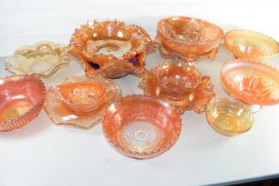 BOX CONTAINING CARNIVAL GLASS, TANGERINE COLOURED WITH FLORAL DESIGNS