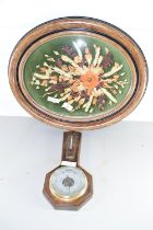 COLLAGE OF FLOWERS IN OVAL METAL FRAME, TOGETHER WITH A SMALL BAROMETER AND THERMOMETER