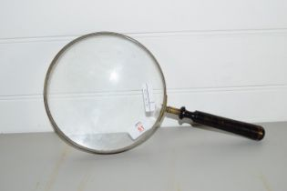 VINTAGE LARGE MAGNIFYING GLASS WITH WOODEN HANDLE