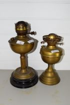 TWO BRASS OIL LAMPS