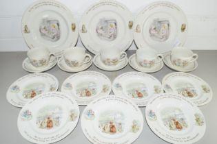 WEDGWOOD BEATRIX POTTER TEA WARES, CUPS, SAUCERS, PLATES, SIDE PLATES ETC