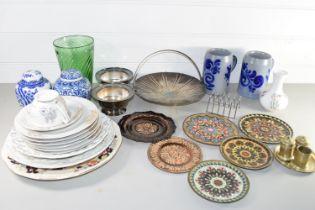 BOX CONTAINING CERAMICS AND METAL WARES, PLATES, TANKARDS, GINGER JARS ETC