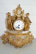 FRENCH STYLE GILT MANTEL CLOCK, THE CYLINDRICAL CLOCK FLANKED BY TWO CHILDREN