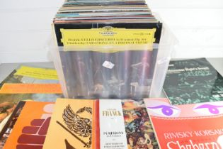 PLASTIC BOX OF LPS, MAINLY CLASSICAL, BEETHOVEN, MOZART ETC