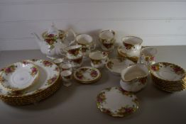 ROYAL ALBERT OLD COUNTRY ROSES TEA SET INCLUDING PLATES, CUPS AND SAUCERS, SIDE PLATES, TEA POT,