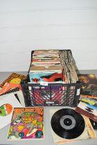 PLASTIC BOX CONTAINING 45RPM RECORDS, POP MUSIC