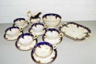 ENGLISH PORCELAIN PART TEA SET, PATTERN NO 328, COMPRISING CUPS AND SAUCERS, SLOP BOWL, SANDWICH