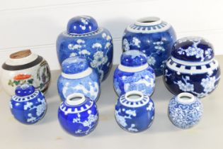 CHINESE CERAMICS INCLUDING GINGER JARS AND COVERS